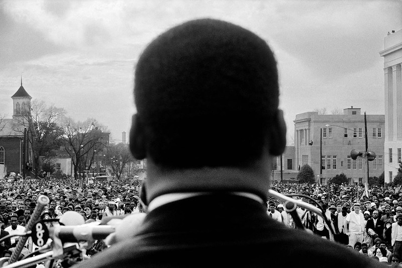 SOMERSTEIN_FR3MLK<br /> Dr. Martin Luther King, Jr. speaking to 25,000 civil rights marchers at end of Selma to Montgomery, Alabama march. March 25, 1965 - Photo by Stephen Somerstein©