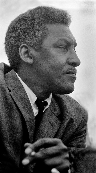 Bayard Rustin (march organizer) on speaker's platform at conclusion of 1965 Selma to Montgomery Civil Rights March; March 25, 1965<br />     - Photo by Stephen Somerstein©