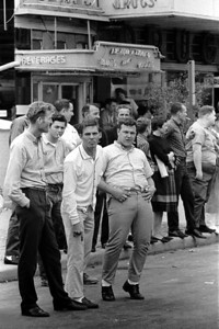 White hecklers yelling and gesturing at marchers.  Selma to Montgomery Alabama Civil Rights March, March 24-26, 1965.