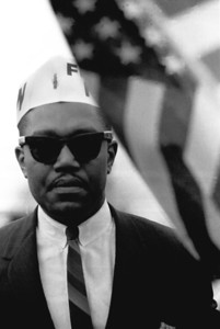 Man with white UAW union cap  Selma To Montgomery Civil Rights March, March 24-26, 1965