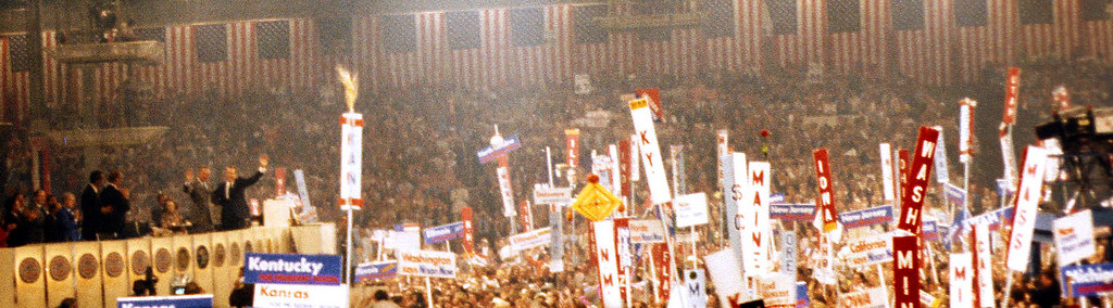 "In 1972, Eric Nilsson invited me to attend the Republican National Convention in Miami.  Though a strong McGovern supporter, I seized the opportunity to see how the ""enemy camp"" operated. This picture is of Nixon and Agnew while the crowd cheered ""Four More Years"".  One thing you can't get from the picture is the smell of tear gas.  The protesters outside the arena were getting gassed, and the fumes reached the floor of the convention."
