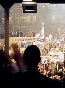 "Richard and Pat Nixon take center stage at the Republican National Convention in 1972.  The crowd chanted ""Four More Years"" while raising their right arms in a four finger salute that was frighteningly reminiscent of the ""Hitler Salute"", particularly when done in unison by the thousands in attendance."