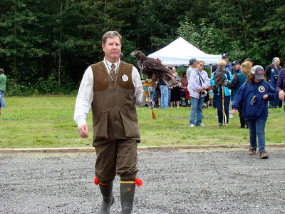 Dutch dressed the part for his falconry presentation.