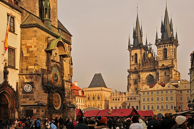 The Old Town Square with Týn Cathedral and the Prague Orloj