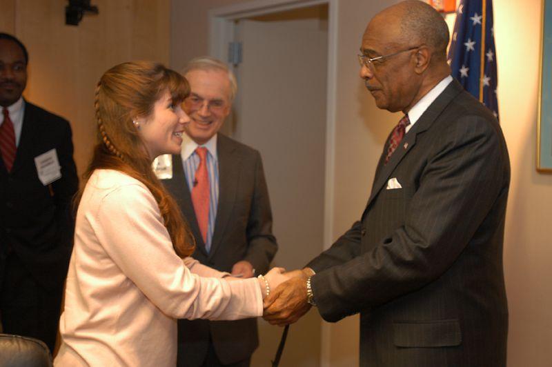 US Secretary of Education, Rod Paige, congratulates Sarah M. Swords.