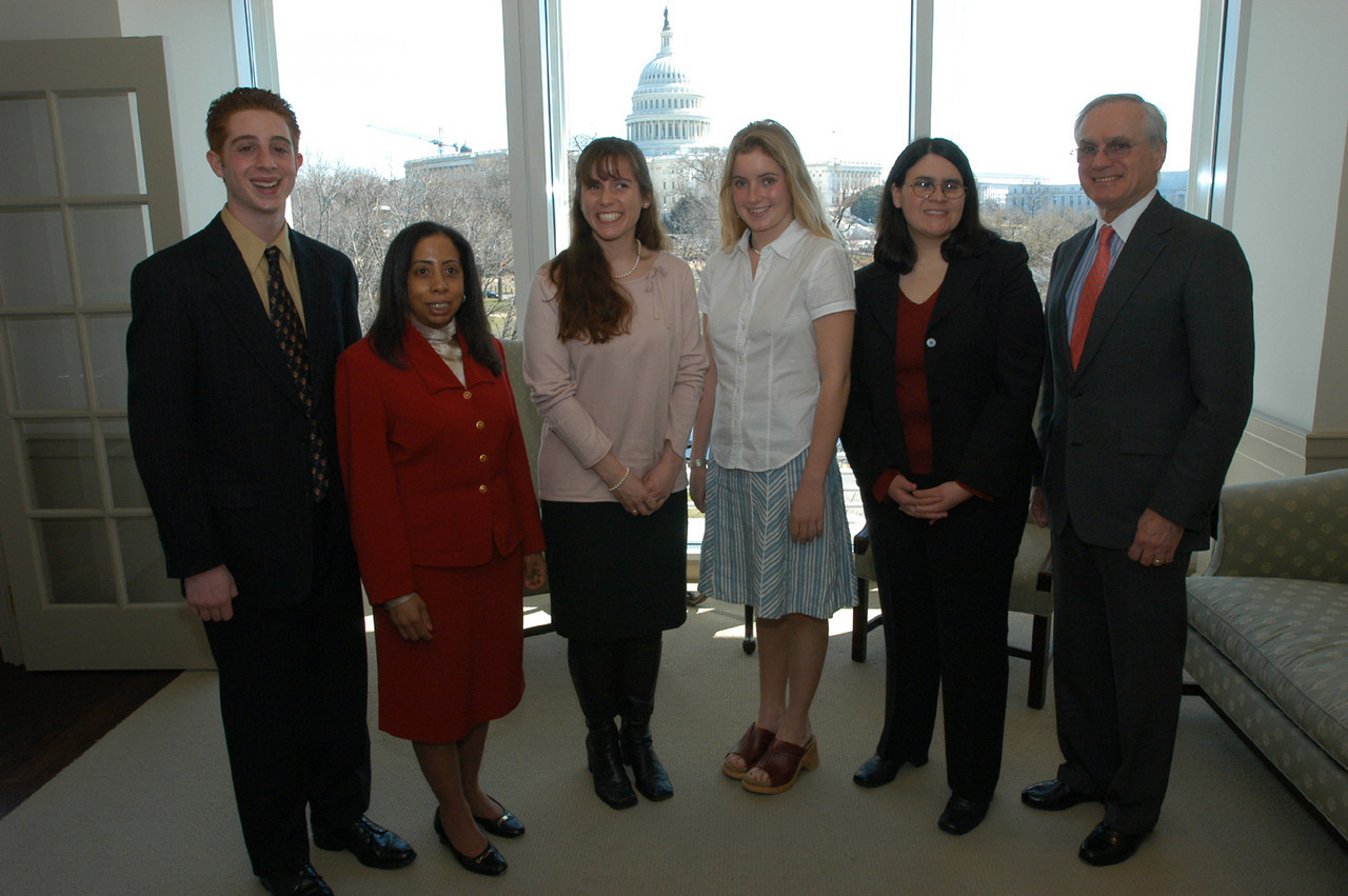 The 2003 NAA Winners were feted at an award luncheon on Capitol Hill. (l to r:  Justin Sirico Stroup, RFB&D National Board Vice Chair Celeste V. Lopes. Esq., Sarah M. Swords, , Emily Kalah Gade, Helaine Blumenthal, RFB&D President and CEO, Richard O. Scribner.