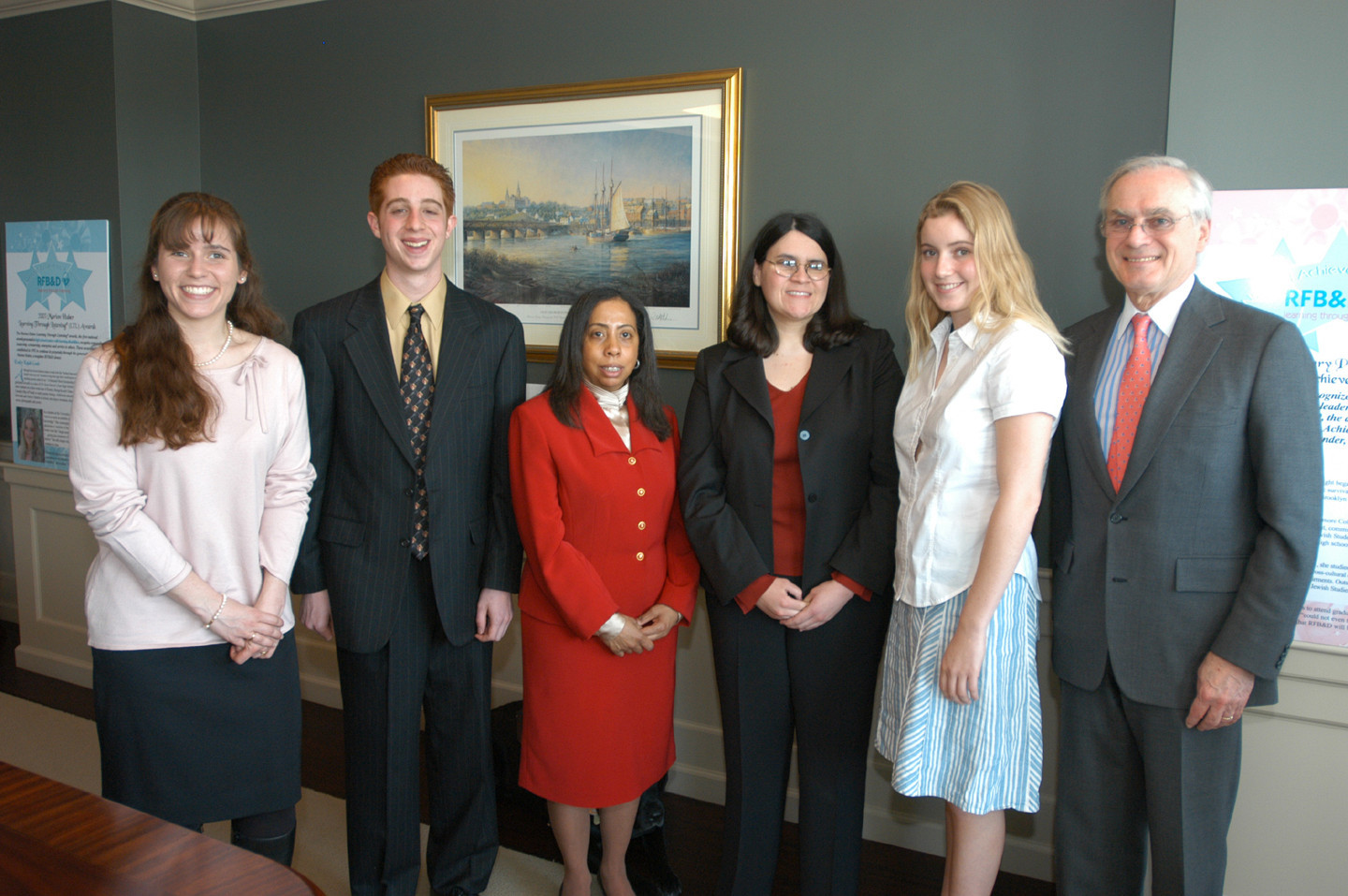The 2003 NAA Winners were feted at an award luncheon on Capitol Hill. (l to r:  Sarah M. Swords, Justin Sirico Stroup, RFB&D National Board Vice Chair Celeste V. Lopes. Esq., Helaine Blumenthal, Emily Kalah Gade, RFB&D President and CEO, Richard O. Scribner.