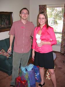 Jason & Emily at wedding shower at Grandma's house.
