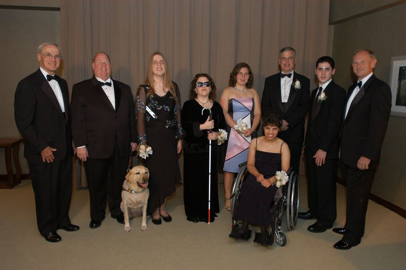 "RECORDING FOR THE BLIND & DYSLEXIC® HONORS SCHOLARS, PNC BANK AT NATIONAL ACHIEVEMENT AWARDS GALA OCTOBER 14 IN PRINCETON <br /> <br /> October 14, 2004 (Princeton, NJ) – The national headquarters and New Jersey Unit of Recording for the Blind & Dyslexic (RFB&D®) co-hosted the 2004 National Achievement Awards (NAA) gala on Thursday, October 14, 2004, at the Westin Princeton at Forrestal Village. <br /> <br /> The National Achievement Awards recognize RFB&D members who demonstrate extraordinary scholarship, leadership, enterprise and service to others with Scholastic Achievement Awards for college seniors with visual impairments, and Learning Through Listening® Awards for high school seniors with learning disabilities. <br /> <br /> ""Our National Achievement Awards recognize the accomplishments of students who are role models, not only for people with disabilities, but for all of us who endeavor to reach our full potential as students and as citizens,"" said Richard O. Scribner, RFB&D President & CEO.<br /> <br /> This year, RFB&D presented its Enabling America Award to PNC Bank for its contributions to the advancement of educational and professional opportunities for individuals with disabilities. Peter K. Classen, chief executive officer of PNC Bank's Corporate Banking business, accepted the award on behalf of PNC. <br /> <br /> The keynote speaker at this year's NAA gala was Michael Hingson. An RFB&D member and former National Achievement Award winner himself, Michael and his guide dog Roselle are the heroic survivors of the September 11, 2001, attack on the World Trade Center, where he worked as district sales manager for Quantum Data Protection Division. Michael is now the national public affairs representative for Guide Dogs for the Blind in San Rafael, CA. <br /> <br /> RFB&D is a national nonprofit organization based in Princeton, NJ. It is the nation's leading provider of recorded textbooks in every subject area and grade level for students with print disabilities, such as visual impairment or a learning disability. In addition to recording books for the organization's master collection, the New Jersey Unit also provides equipment, training and assistance to educators throughout the state who seek to incorporate RFB&D's Learning Through Listening® strategies to benefit students with print disabilities in the classroom. <br /> <br /> The NAA award winners this year were: <br /> <br /> Mary P. Oenslager Scholastic Achievement Award: <br /> <br /> Matthew VanFossan, Pittsburgh, PA: <br /> Matthew graduated with a degree in politics and Latin American studies from Oberlin College, OH, with a 3.5 grade point average. He has volunteered as a braille tutor, mentor, researcher, writer and fundraiser, and has been active on campus to strengthen bonds and activism among students with disabilities. Matthew will soon continue his education with a scholarship from Rotary International to study the politics of disability in Brazil. <br /> <br /> Alicia Verlager, Dorchester, MA: <br /> Alicia feels strongly that technology and books can open new worlds for people with disabilities. She graduated with a 3.88 grade point average from the University of Massachusetts, where she helped to improve online learning accessibility for students with disabilities. Alicia is currently attending M.I.T. and hopes to continue merging the worlds of technology and the written word. <br /> <br /> Kristen Witucki, Pine Hill, NJ: <br /> Totally blind since birth, Kristen initially rejected audio books in favor of braille. She admits, however, that it didn't take long to realize that Recording for the Blind & Dyslexic was a mainstay for achieving her academic dreams. She earned a bachelor of arts degree from Vassar with a 3.58 grade point average as well as a New York State Teaching Certification. Kristen currently attends Columbia University's Teachers College. <br /> <br /> Marion Huber Learning Through Listening Award: <br /> <br /> Abigail Baum, Mill Valley, CA: <br /> A graduate of Cate School with a 4.0 grade point average, Abigail plans to join the Peace Corps and perhaps become a doctor. Outside the classroom, Abigail's interests include soccer, lacrosse, singing, acoustic guitar and photography. She has also traveled to Mexico three times a year for the past three years to help build schools. <br /> <br /> Rebecca Diakunczak, Middleburgh, NY: <br /> Diagnosed with cerebral palsy at the age of eight months, Rebecca's parents were told it was unlikely she would complete high school, let alone college. She proved doctors wrong when she graduated high school with an academic average of 92.5. In addition, Rebecca introduced a school disability awareness program named ""Everybody Counts."" Rebecca attends Wright State University in Ohio. <br /> <br /> Adam Koplewicz, New York, NY: <br /> Adam graduated with a grade point average of 3.77 from Columbia Grammar and Preparatory School in New York, where he excelled in tennis, soccer and basketball. He worked on the school newspaper, and achieved the honor of Who's Who Among American High School Students 2002-2003. He attends Brown University and hopes to become a neuroscientist and find a cure for dyslexia. <br /> <br /> Interview opportunities are available by calling Mark Zustovich, RFB&D media relations associate, at 609-520-7993. # # #   <br /> <br /> Photo (l-r): Richard O. Scribner, Michael Hingson, Kristen Witucki, Alicia Verlager, Abigail Baum, Rebecca Diakunczak, Peter Classen, Adam Koplewicz and Tom Trainor. Not pictured, Matthew VanFossan."