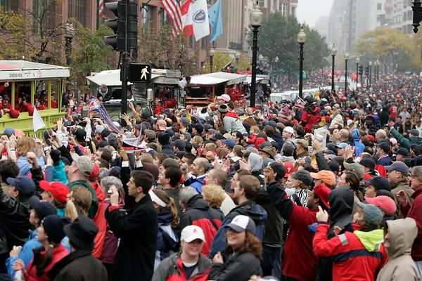 A sea of Red Sox fans is seen near the Boston Commons