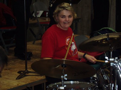Sister Sally on the drums