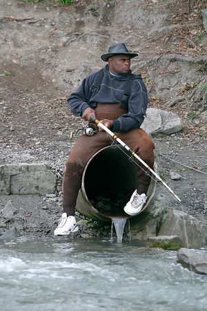 This fellow found an interesting seat from which to fish.