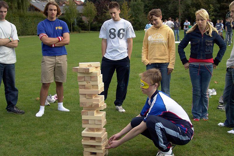 Playing garden jenga during Paddock Olympics