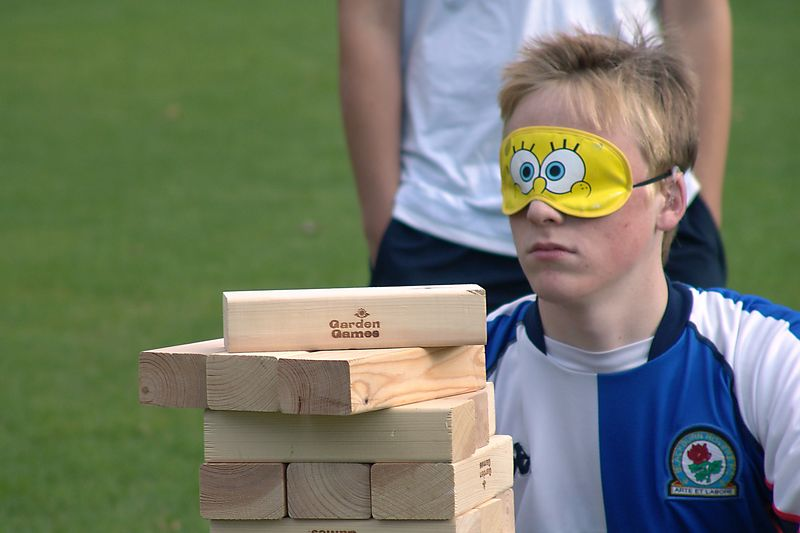 Being told the results during Paddock Olympics whilst playing Garden Jenga