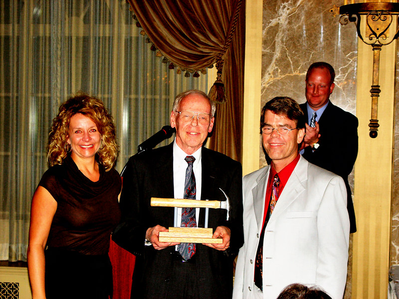 Honoree: Art Stauder, Volunteer Architect<br /> l-r: Kimberly McKinney (HFHSTL CEO), Art Stauder, MC (KMOX Radio), Bob West (HFHSTL Board President)