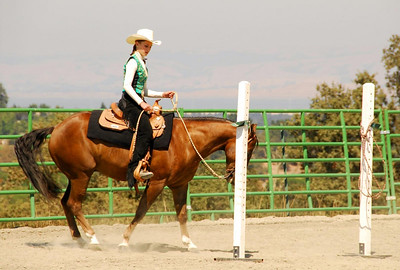 """Maggie Goulder rides """"Lena's Gold Award"""" in one of the Trail Classes"""