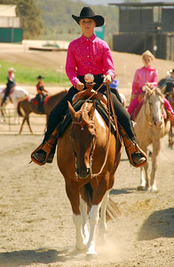 """Sarah Hanson riding """"Wouldn't That Be Lucky"""" in the Western Equitation Walk/Jog Jr/Am Class"""