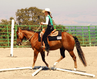 """Maggie Goulder rides """"Lena's Gold Award"""" in one of the Trail Classes."""