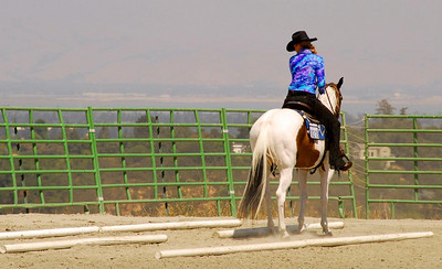 """Danielle Bushue rides """"Sonny's Delight"""" in the Never Won A Buckle Trail-Open."""