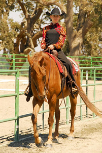 """Alissa Danford riding """"Don't Mess With Texas"""" in the Western Equitation Walk/Jog Jr/Am Class."""