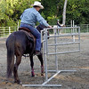 Alan Demmons practices opening the trail gate in Noel Moody's Class.