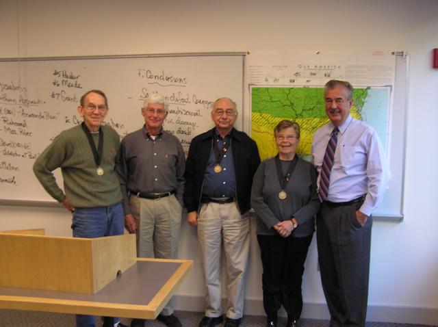 Stephen Becham's class, US National Century 1789-1898. From left to right: Don Floren, Bill Mangels, Jim Cole, Eloise Cole, Stephen Beckham.