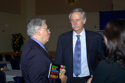 Dr. Raymond Rodriguez with professor Walter Willett at the Friday Evening reception for professor Bruce Ames