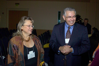 Dr. Esther Myers of the American Dietetic Association with professor Raymond Rodriguez at the Ames reception.