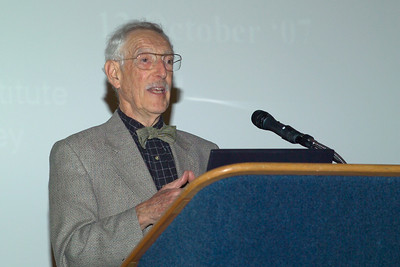 """Profressor Bruce Ames speaking on """"Delaying the Degenerative Diseases of Aging in Low Income Populations"""" at the Friday (10/12/07) reception"""