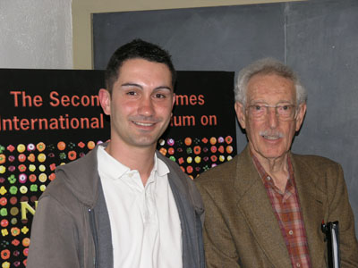Dr. Gabriel Paulino, recipient of the 2008 Bruce Ames Young Investigator Award, with Professor Bruce Ames