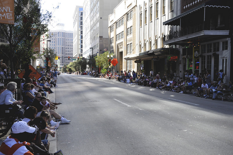 People waiting for the parade to march down Orange Avenue