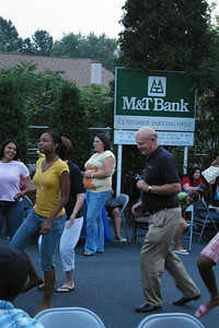 Friday, September 7th, 2007: DANCING IN THE STREETS --- Penn State Schuylkill Chancellor, Dr. R. Keith Hillkirk joins the partiers a line dance to the tune of The Electric Slide.
