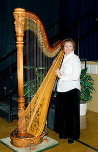Harpist Ruth Richards was one of the musical performers at the Belvidere Community Center during the Boone County Council on Aging's annual black and white gala on Saturday night.