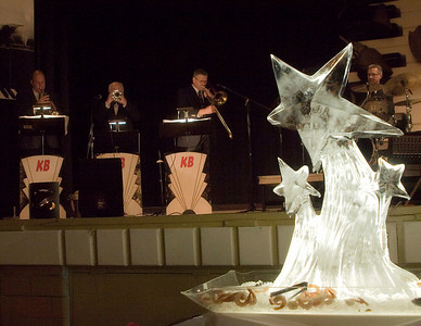 "An ice sculpture of stars illustrated the theme ""Dancing with the Stars"" at the Belvidere Community Center during the Boone County Council on Aging's annual black and white gala on Saturday night.  On stage is the jazz group ""Kickin' Brass""."