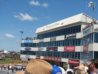 Corporate tower behind start line