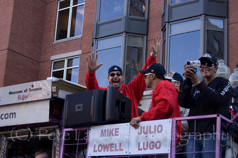 2007 World Series Champion, Boston Red Sox victory parade in Boston, MA on October 30, 2007.  World Series MVP, Mike Lowell is really a big ham.  He loves having his picture taken I guess.