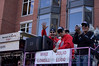 2007 World Series Champion, Boston Red Sox victory parade in Boston, MA on October 30, 2007.  Mike Lowell gives us a big wave and Julio Lugo looks on.