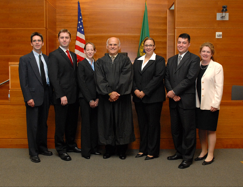 Judge Coughenour with students and faculty.
