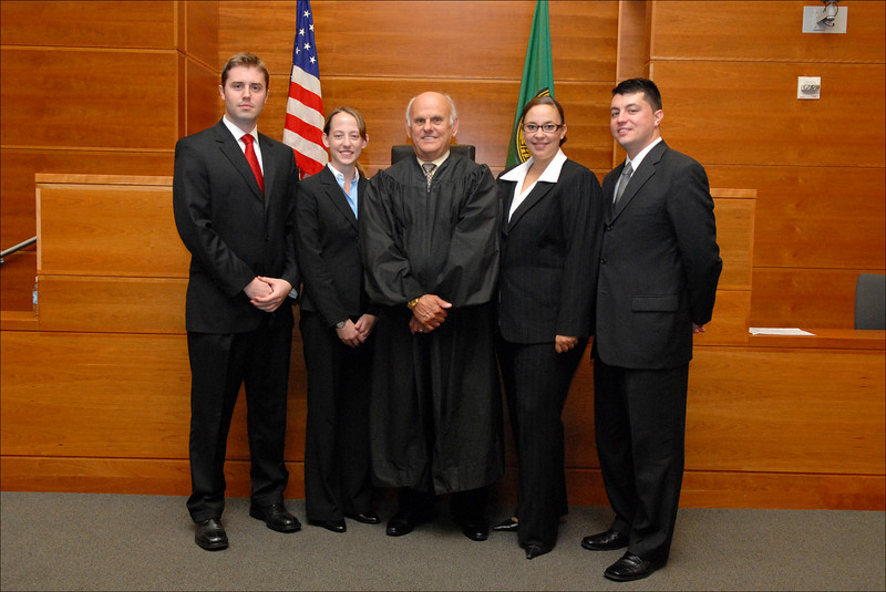 L to R:<br /> Prosecution team: Ben Carr & Racehl Cormier Anderson<br /> Judge Coughenour<br /> Defense team: Adrian Madrone & Karama Hawkins