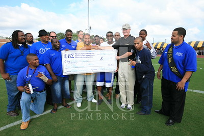 Phi Beta Sigma donates a check at the UNCP Homecoming Game in Pembroke, NC on October 6th, 2007 webber_0118.JPG
