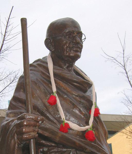Gandhi - top half against sky