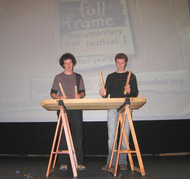 20070413 Harkaitz and Igor playing txalparta after screening of 'Nömadak tx' 2
