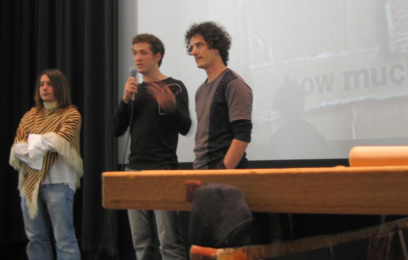 20070413 Raul, Igor, & Harkaitz after screening 'Nömadak tx' w txalparta in fg (blurry)