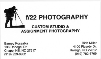 Business Card - f22 Photography