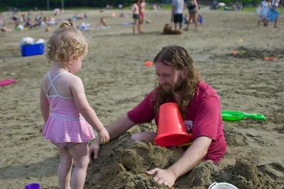 Burying Eric in the sand