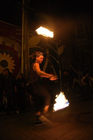 Fire Poi in Balmy Alley San Francisco Mission DIstrict
