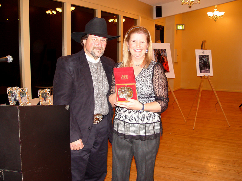 Sarah Filice, 2007 President, proudly displays her President's buckle with husband, Al.