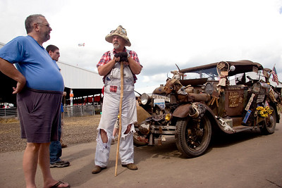 """""""Hillbilly Bob"""" Hill talks about some of the adventures he has had in his 1929 Model A Ford """"Ruthie"""" at the Boone County Fair on Saturday, August 9."""