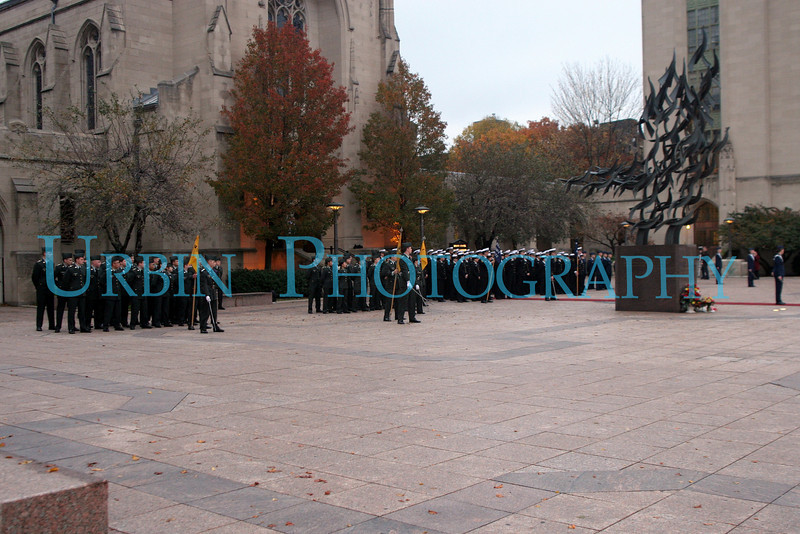 Army, Navy & Air Force ROTC cadets in formation.