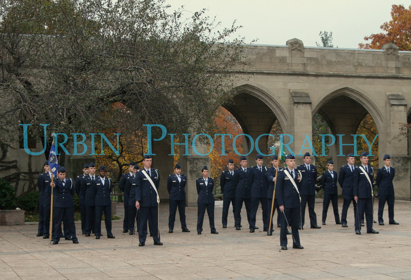 Air Force ROTC cadets in formation.
